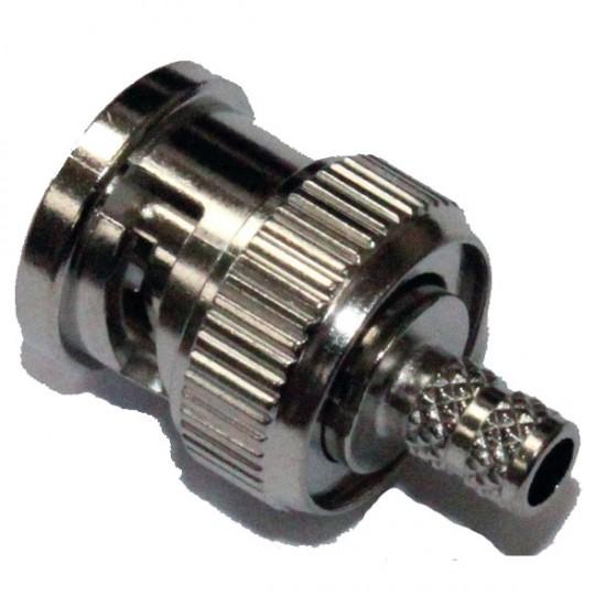 BPCR58D BNC Crimp Plug RG58C/U, 7806A, 9907, CNT-195, HPF195, KX 15, LMR-195, LLA195 WCX195, 1.0/2.95 AF, RG-141A/U, URM43, URM76.